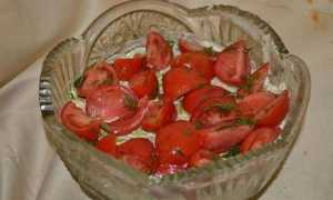 Салат красная шапочка с помидорами курицей и грибами