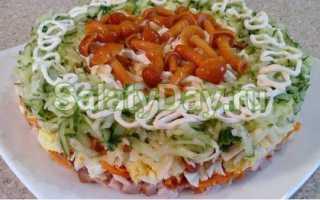 Салат грибное лукошко с опятами маринованными