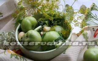 Зеленые помидоры с чесноком квашеные
